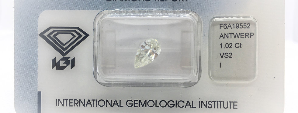 Pear Shape 1.02ct I VS2 certified by IGI