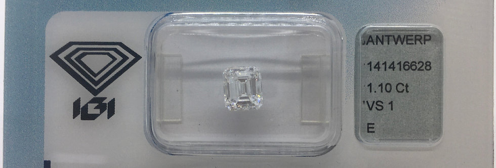 Emerald 1.1ct E VS1 certified by IGI
