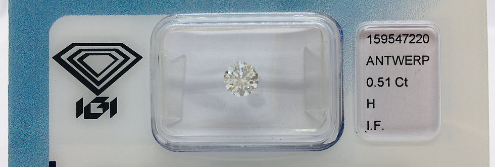 Round Brilliant 0.51ct H IF certified by IGI