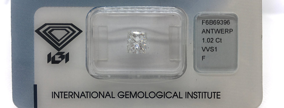 Princess 1.02ct F VVS1 certified by IGI