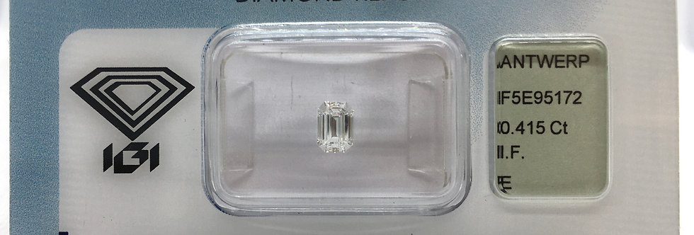 Emerald 0.41ct E IF certified by IGI