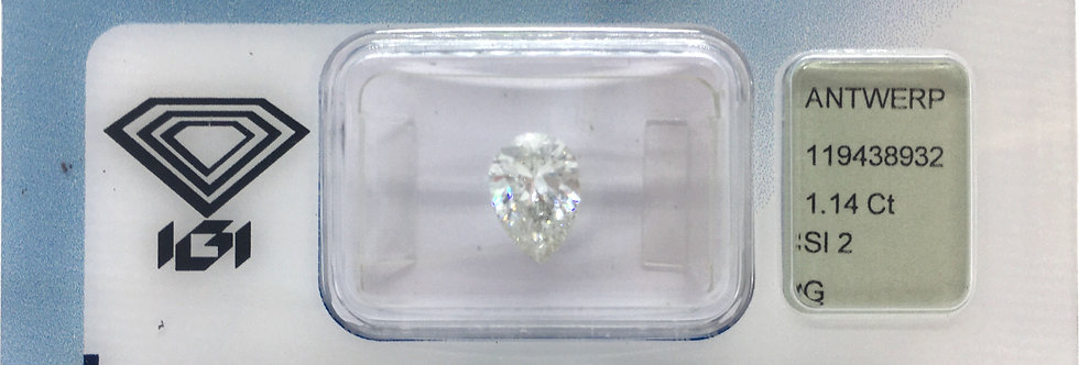 Pear Shape 1.14ct G SI2 certified by IGI