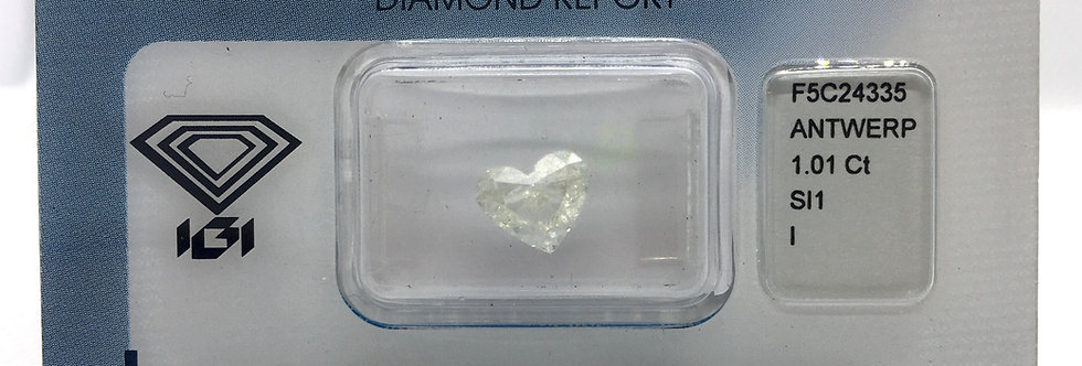 Heart Shape 1.01ct I SI1 certified by IGI