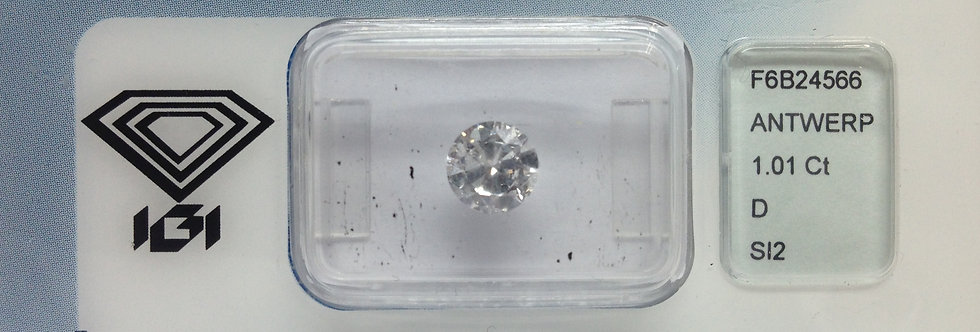Round Brilliant 1.01ct D SI2 certified by IGI