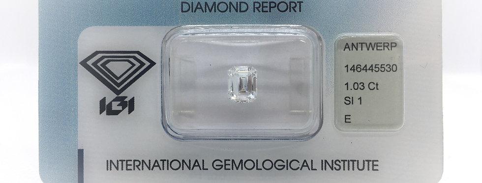 Emerald 1.03ct E SI1 certified by IGI