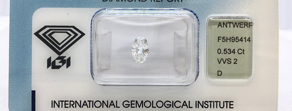 Oval 0.53ct D VVS2 certified by IGI