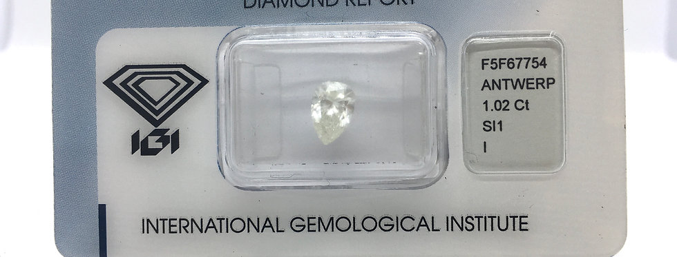 Pear Shape 1.02ct I SI1 certified by IGI