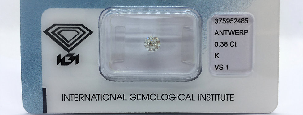 Round Brilliant 0.38ct K VS1 certified by IGI