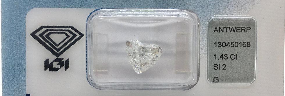 Heart Shape 1.43ct G SI2 certified by IGI