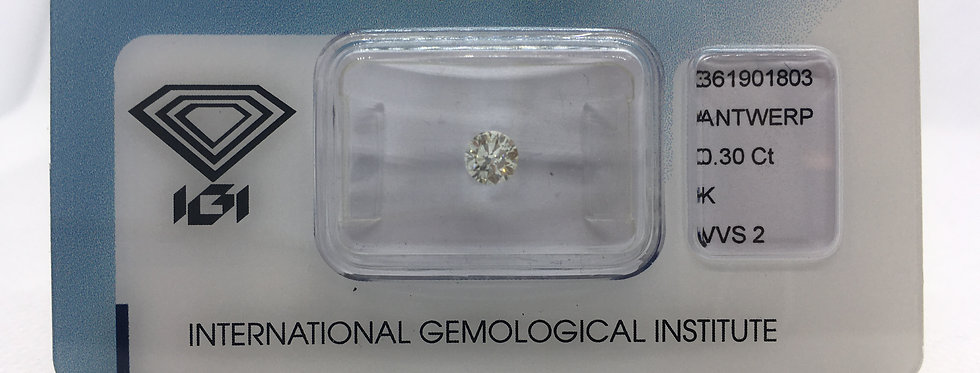 0.3ct K VVS2 Round Brilliant Diamond certified by IGI