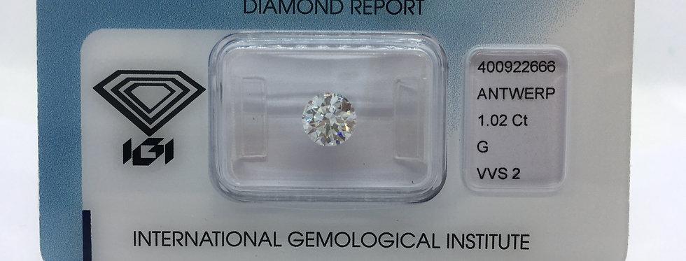 Round Brilliant 1.02ct G VVS2 certified by IGI