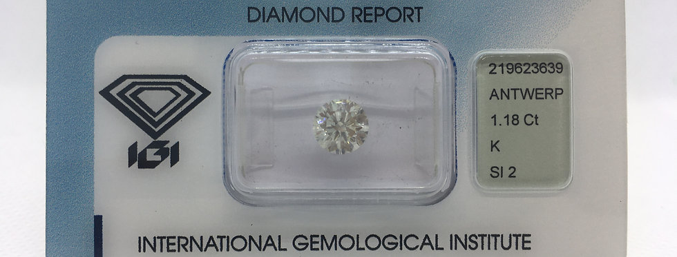 Round Brilliant 1.18ct K SI2 certified by IGI