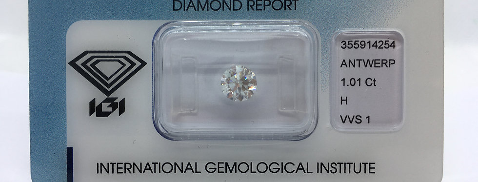Round Brilliant 1.01ct H VVS1 certified by IGI