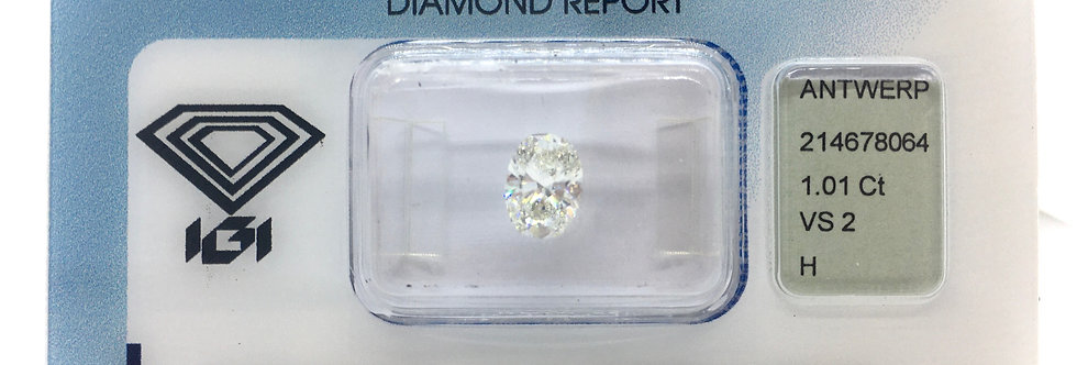 Oval 1.01ct H VS2 certified by IGI