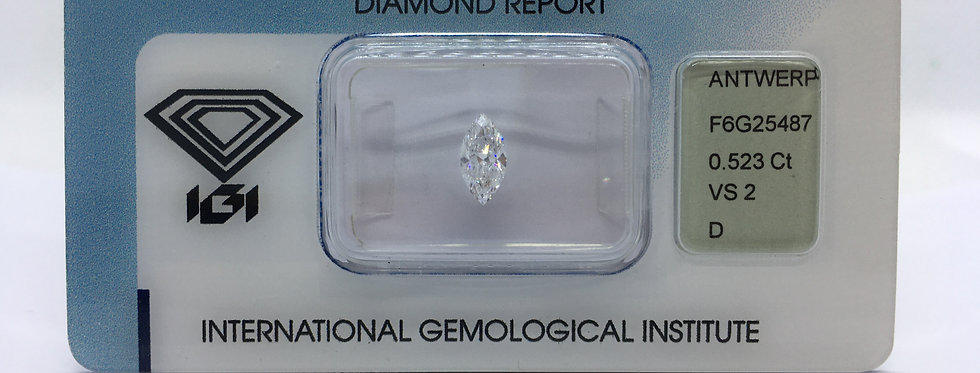 Marquise 0.52ct D VS2 certified by IGI