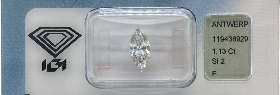 Marquise 1.13ct F SI2 certified by IGI