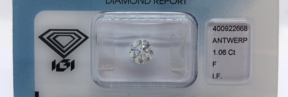 Round Brilliant 1.06ct F IF certified by IGI