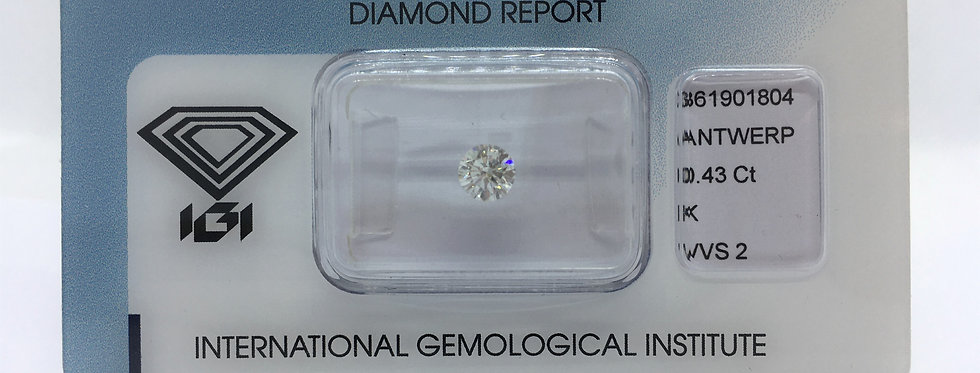 Round Brilliant 0.43ct K VVS2 certified by IGI
