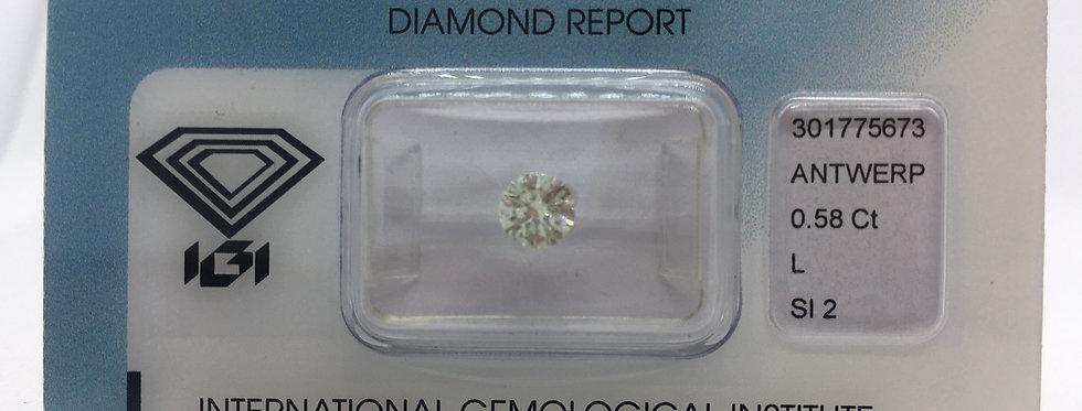 0.58ct L SI2 Round Brilliant Diamond certified by IGI