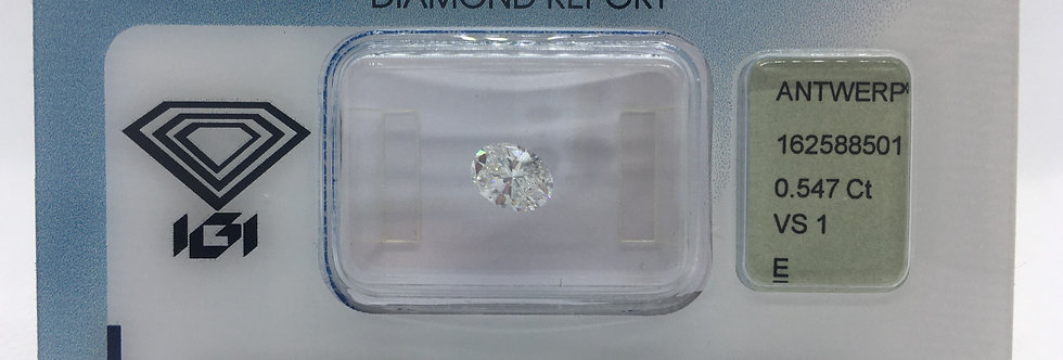 Oval 0.547ct E VS1 certified by IGI