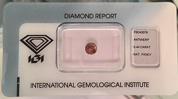 Diamante Laranja Natural 0.44ct - Certificado IGI