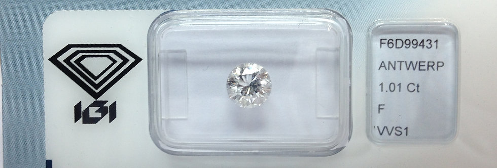 Round Brilliant 1.01ct F VVS1 certified by IGI
