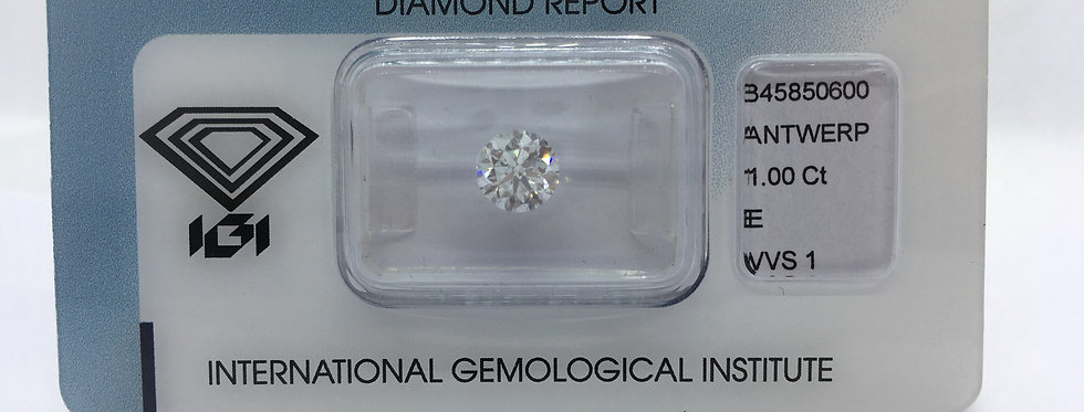Round Brilliant 1ct E VVS1 certified by IGI