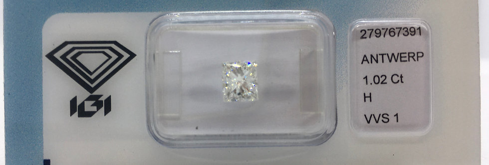Princess 1.02ct H VVS1 certified by IGI