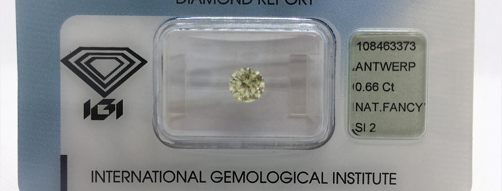 Round 0.66ct Fancy Light Yellow certified by IGI