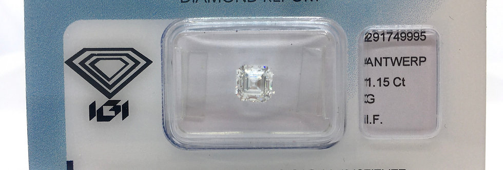 Square Emerald / Asscher 1.15ct G IF certified by IGI
