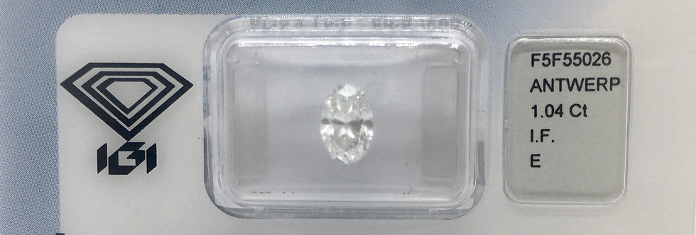 Oval 1.04ct E IF certified by IGI