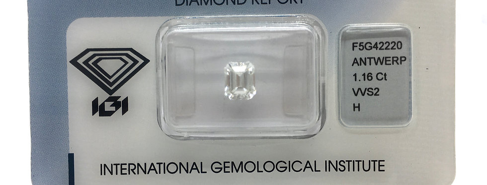 Emerald 1.16ct H VVS2 certified by IGI