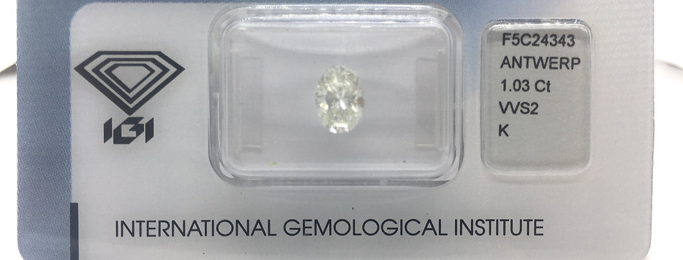 Oval 1.03ct K VVS2 certified by IGI