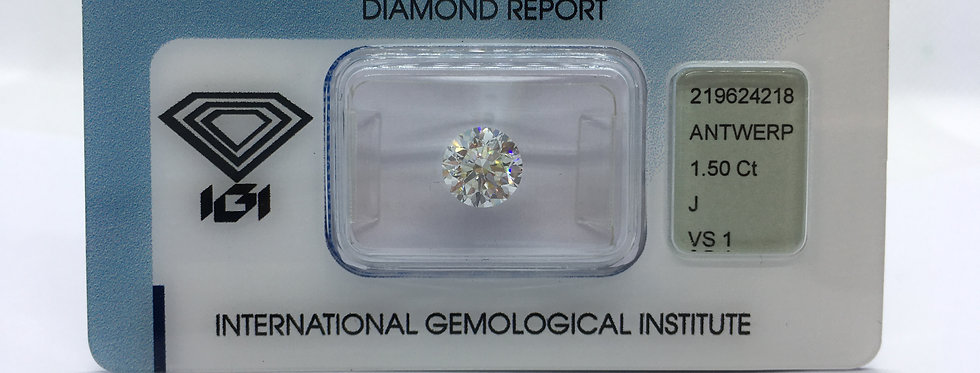 Round Brilliant 1.5ct J VS1 certified by IGI