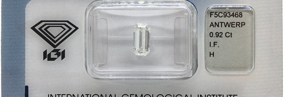Emerald 0.92ct H IF certified by IGI