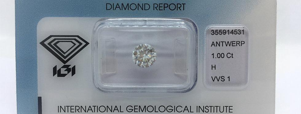 Round Brilliant 1ct H VVS1 certified by IGI