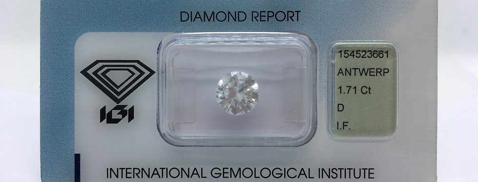 Round Brilliant 1.71ct D IF certified by IGI