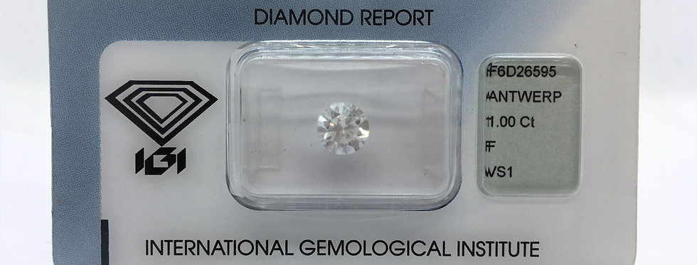 Round Brilliant 1ct F VS1 certified by IGI