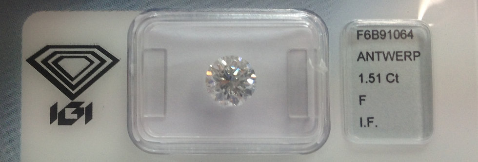 Round Brilliant 1.51ct F IF certified by IGI