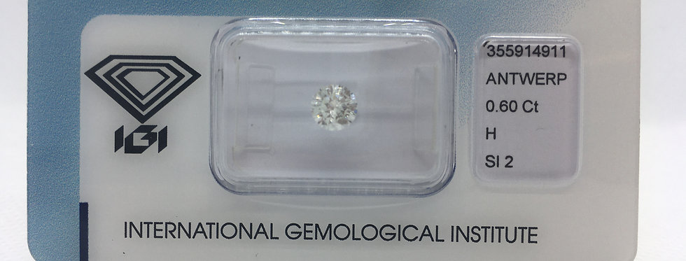 Round Brilliant 0.6ct H SI2 certified by IGI
