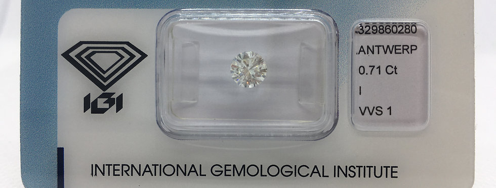 0.71ct I VVS1 Round Brilliant Diamond certified by IGI