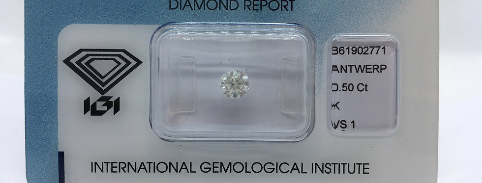 Round Brilliant 0.5ct K VS1 certified by IGI