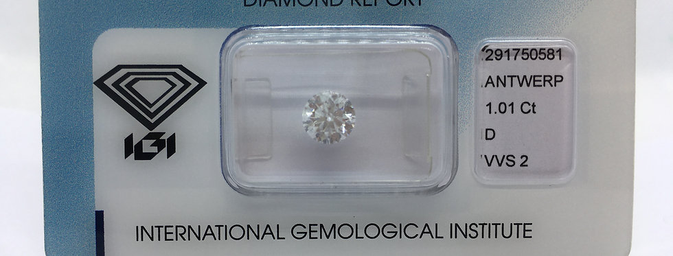 Round Brilliant 1.01ct D VVS2 certified by IGI