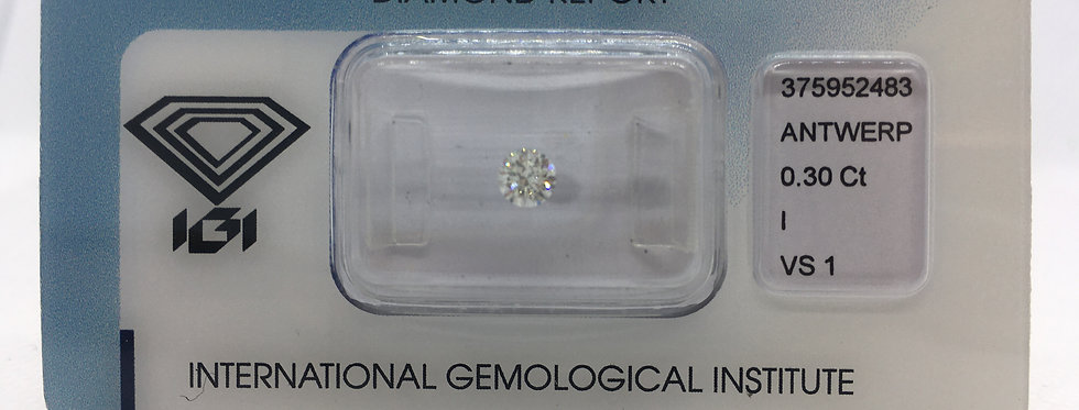 0.3ct I VS1 Round Brilliant Diamond certified by IGI