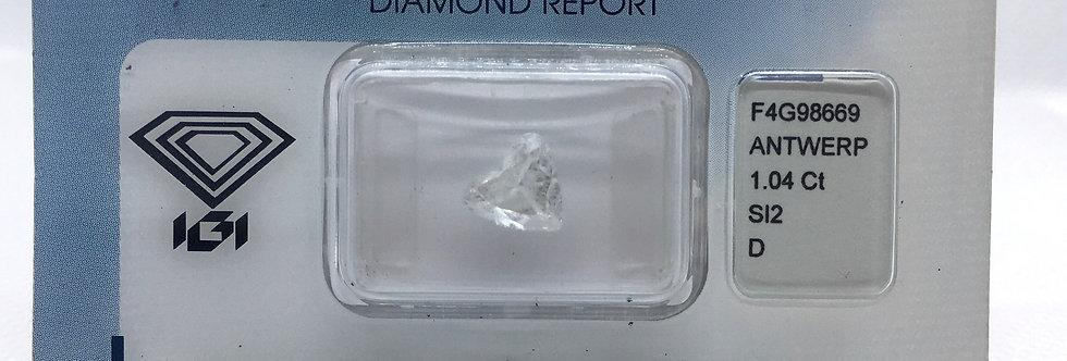 Heart Shape 1.04ct D SI2 certified by IGI