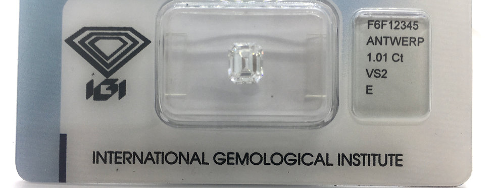 Emerald 1.01ct E VS2 certified by IGI