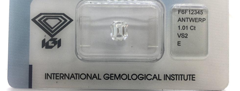 Emerald 1.01ct E VS2 certified by IGI