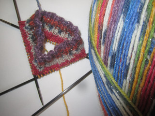 It is blowing a gale here in Scotland, I was in need of comfort knitting. Socks in sparkly Opal Sock