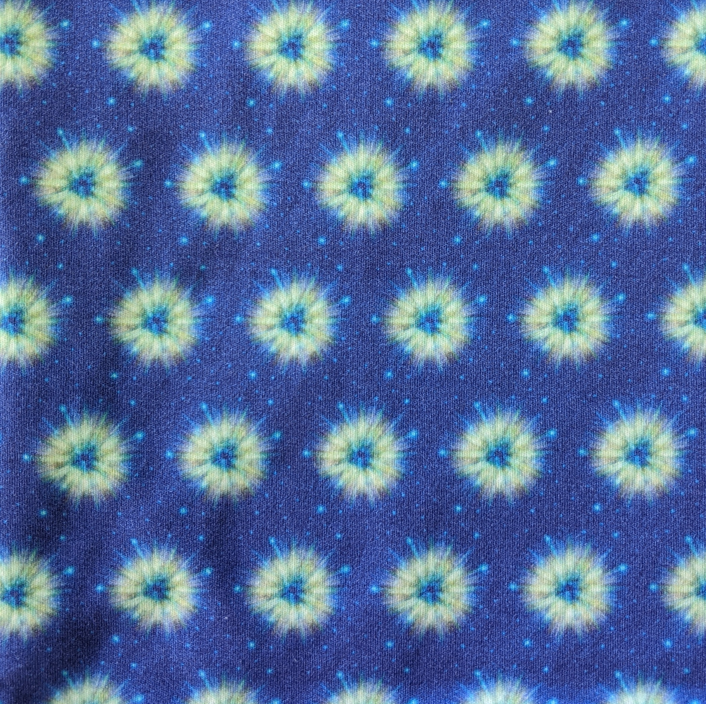 Yellow Space Fuzzies on Indigo Blue