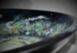 Spiral Galaxy hand-painted in large wooden bowl.
